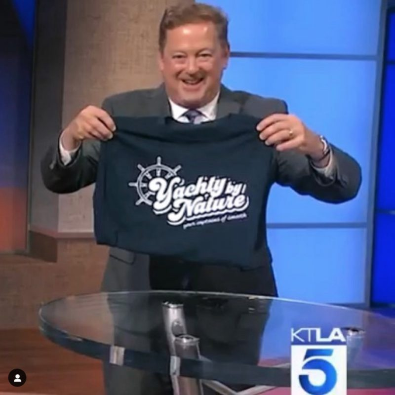 sam rubin KTLA morning news channel 5 los angeles yacht rock yachty by nature t shirt television tv entertainment chris schauble megan henderson henry dicarlo band bands captain smooth